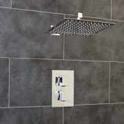 Thermostatic 1 Way Shower Valve | 2 Square Handles with Ultra Thin LARGE 300MM Square Overhead Shower Drencher | EcoSpa®